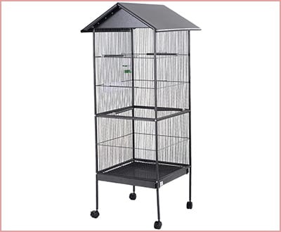 Giantex Large Parrot Bird Cage Play Top Pet Supplies with Perch Stand Two Doors
