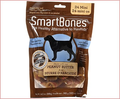 SmartBones peanut butter dog chew bones
