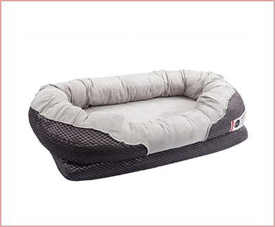 BarksBar orthopedic dog bed in gray with nonslip bottom