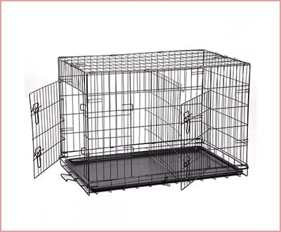 BestPet wire cage with metal pan and double door