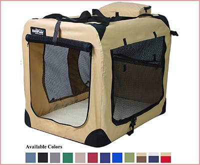 EliteField 3 doors folding soft dog crate for indoor and outdoor