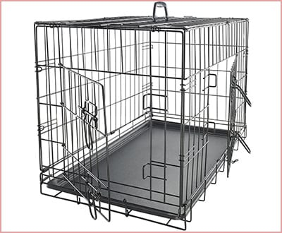 OxGord folding metal crate with double door