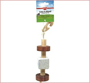 kaytee natural lava and wood hanging toy