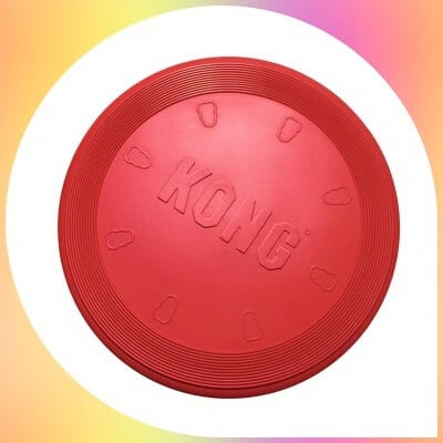 KONG Durable Rubber Flying Disc dog in red