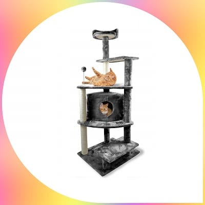 FurHaven Tiger tough cat house furniture tree