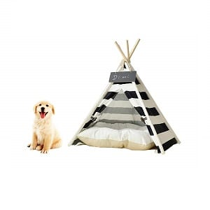 Saim-Pet-Teepee-Dog-Cat-Bed-Portable-Cotton-Canvas-Tent-with-Cushion