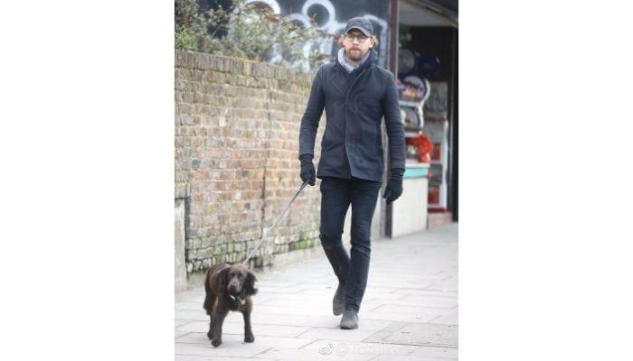tom hiddleston walking dog