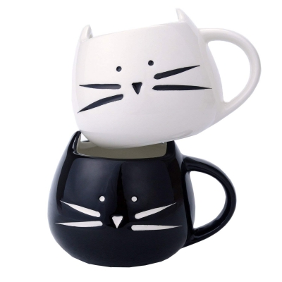 2 Pack Ilyever Funny Cute Cat Coffee Mugs for Crazy Cat Lovers