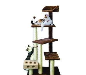 Furhaven Pet Cat Tree | Tiger Tough Cat Tree House Perch Entertainment Playground