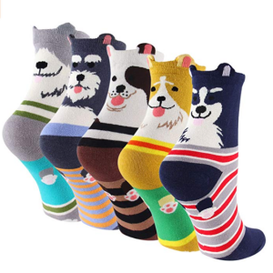 Cartoon Cotton Dog Crew Socks - KEAZA WZ10 Christmas Gift Package Novelty Liner Socks for Women 5-pack