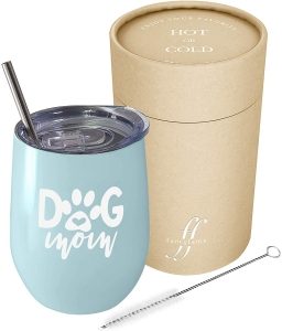 Dog Mom - 12 oz Stainless Steel Stemless Wine Tumbler with Lid and Straw