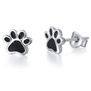 Sterling Silver Jewelry Puppy Dog Cat Pet Paw Print Stud Earrings