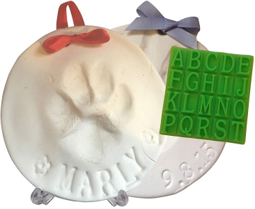 Ultimate Pawprint Keepsake Kit (Makes 2) - Paw Print Memento or Memorial with Bonus Personalization Tool & Display Stand!