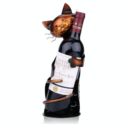 Cat Shaped Wine Holder Wine Rack Shelf Metal Sculpture by Tooarts