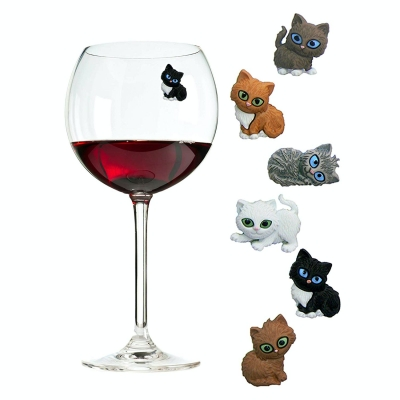 Cat Wine Charms or Drink Glass Markers - Magnetic - Great Birthday or Hostess Gifts for Cat Lovers by Simply Charmed