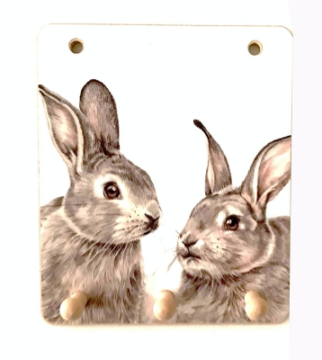 Key Racks Rabbit Lovers 3 Hook Wooden Rack