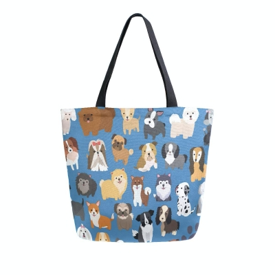 Naanle Animal Dogs Canvas Tote Bag for Outdoors