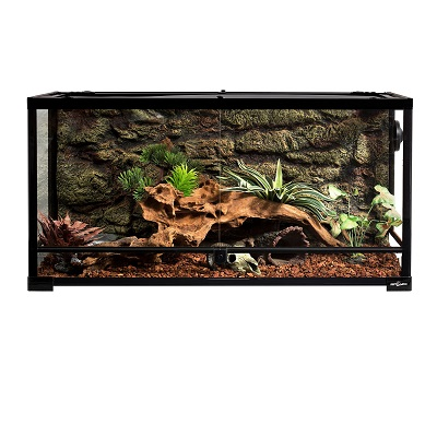 REPTI ZOO Reptile Glass Terrarium, Double Hinge Door with Screen Ventilation Reptile Terrarium