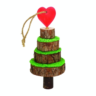 SIPW Christmas XMas Festive Wood & Loofa Tree