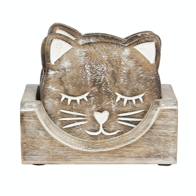 Sass & Bell Wooden Carved Cat Coasters