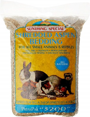Sunseed Shredded Aspen Bedding for Small Nesting and Burrowing Animals
