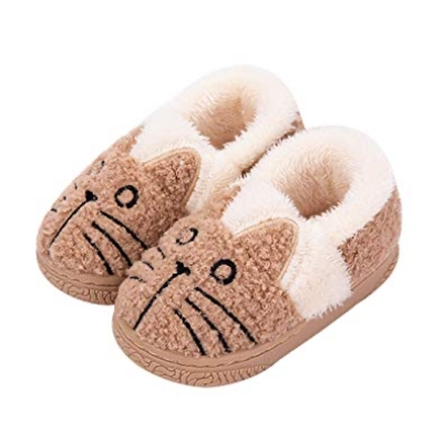 Unisex Cat Pattern Plush Warm House Boot Slippers by JadeRich