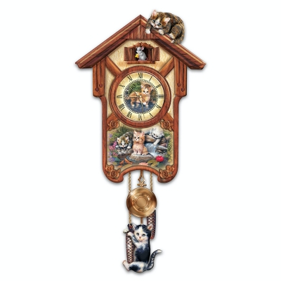 Happy Trails Cuckoo Clock with Kitten Art by Jurgen Scholz: Limited Edition by The Bradford Exchange