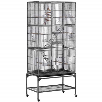 Yaheetech Cage with Cross Shelves and Ladders